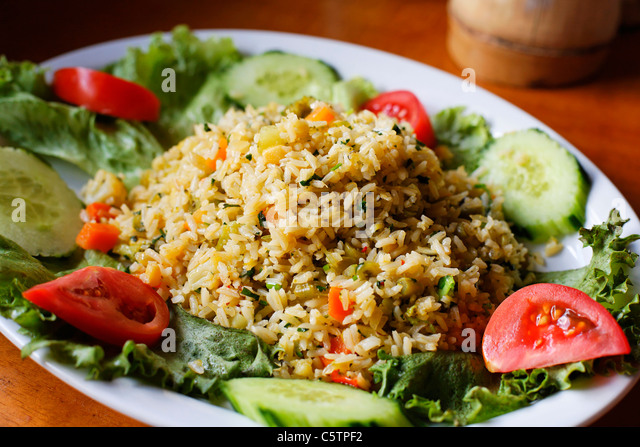Costa Rica, Typical rice meal on plate - Stock-Bilder