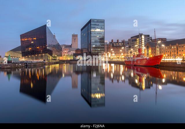 Mann Island, The Mersey Bar Lightship & Waterfront Buildings, Canning Dock, Liverpool, Merseyside. UK - Stock Image