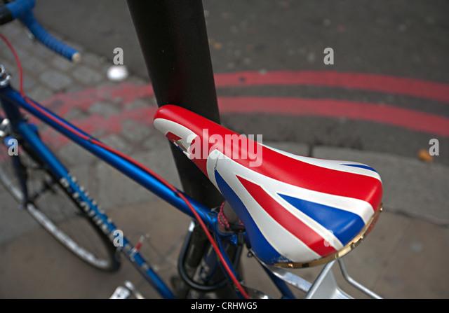 union jack saddle london bike - Stock Image