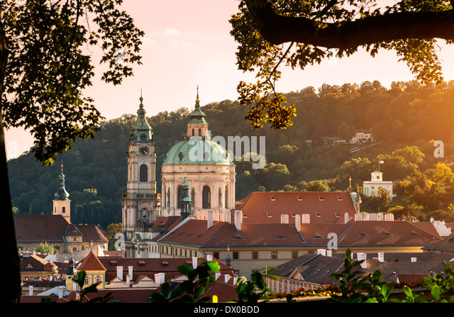 Dome and Bell Tower of Saint Nicholas' Church, Prague, Czech Republic. - Stock-Bilder