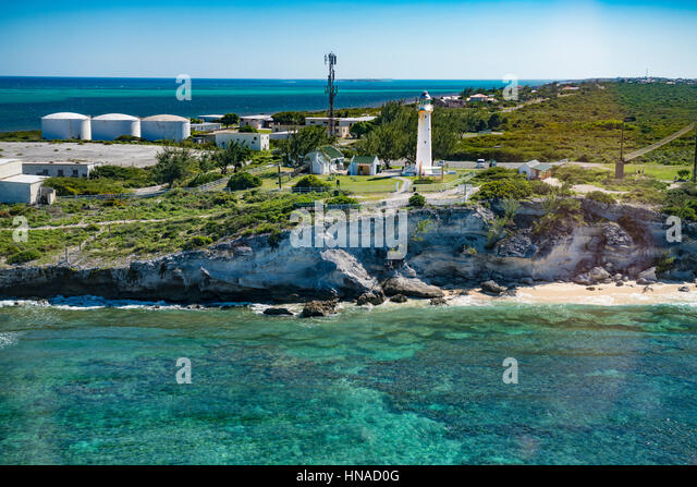 Grand Turk Island  lighthouse and reef, Turks and Caicos Islands, Caribbean Sea, Atlantic Ocean, Largest island - Stock-Bilder