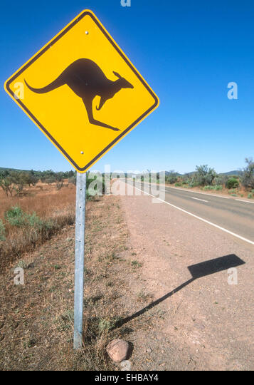 Kangaroo sign in Australian outback South Australia - Stock Image