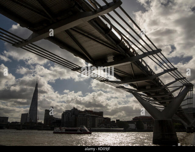 The Millennium Bridge with the Shard in the background - Stock Image