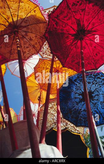 Decorative umbrellas, temple festival, Mas, Bali, Indonesia, Asia - Stock Image