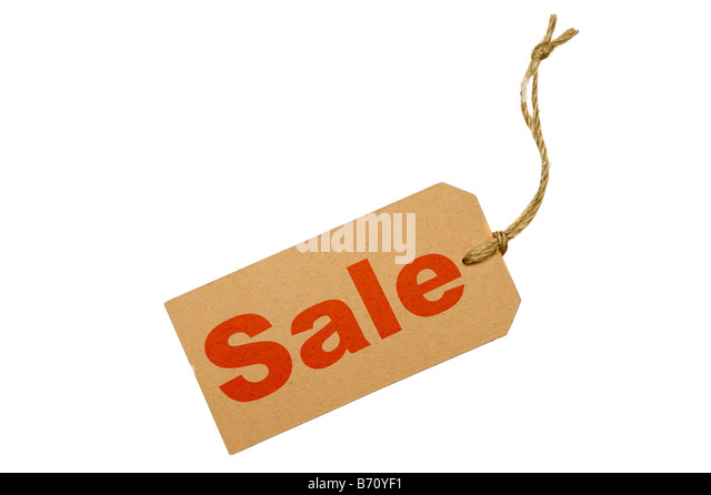 Brown luggage tag with the word SALE isolated on a white background - Stock Image