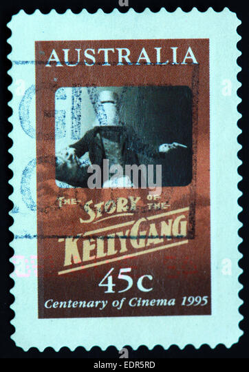 Used and postmarked Australia / Austrailian Stamp 45c story of the Kelly Gang 1995 centenary of cinema - Stock Image