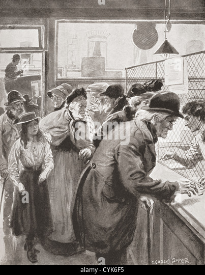Elderly people collecting the Old Age Pension, paid for the first time in Great Britain in January 1909. - Stock-Bilder
