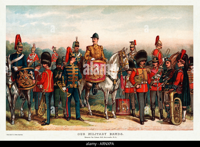 Victorian Military Bands print of bandsmen of the British Army by Lieutenant Colonel Seccombe - Stock Image