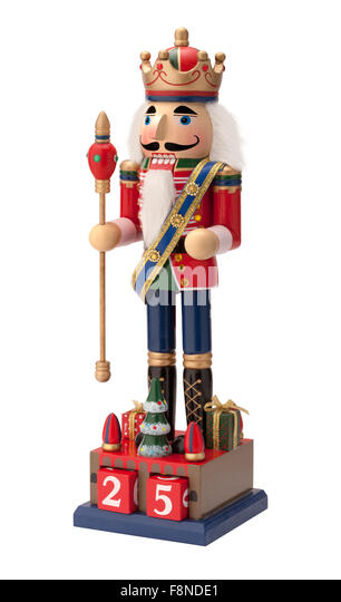 Antique Christmas Royal Nutcracker holding a scepter - Stock Image