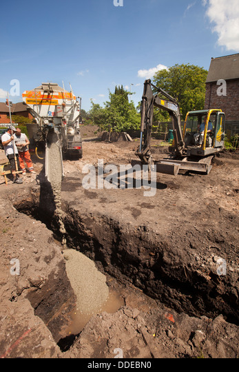 Excavating footings stock photos excavating footings for How long to build a house after foundation is poured