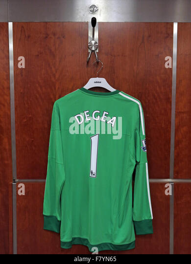 David De Gea green shirt in MUFC dressing room, Old Trafford - Stock Image