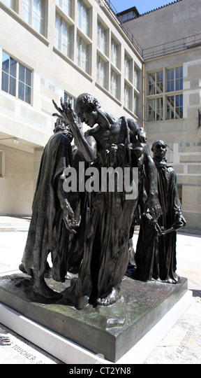 Les Bourgeois de Calais, bronze sculpture by Rodin, forecourt of the Kunstmuseum, Basel - Stock Image