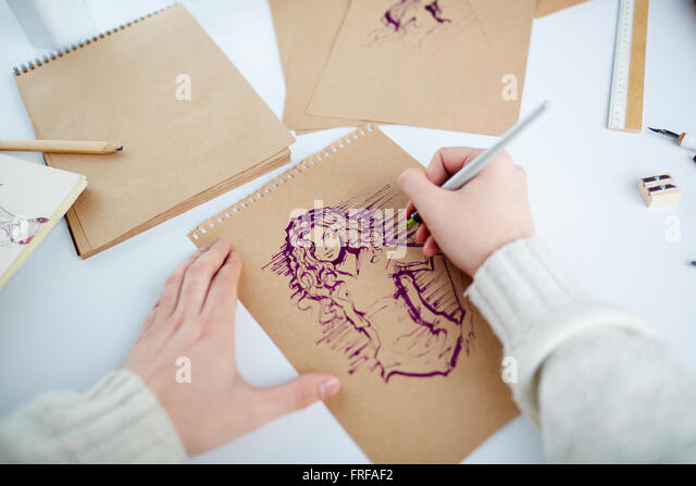 Drawing girl - Stock Image