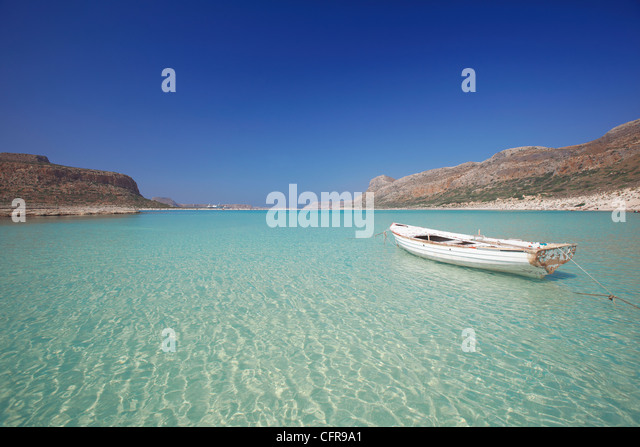 Balos Bay and Gramvousa, Chania, Crete, Greek Islands, Greece, Europe - Stock Image