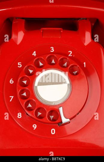 British retro red phone - Stock Image