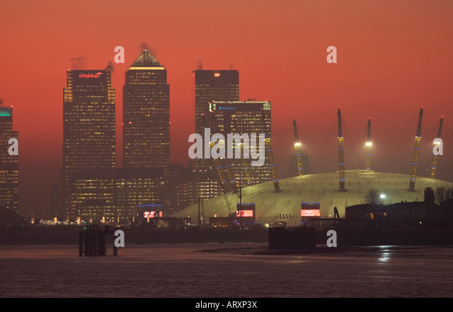 Canary Wharf & o2 Dome - London - Stock Image