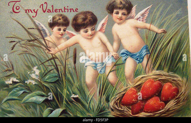 Vintage Valentine Day Card - Stock Image