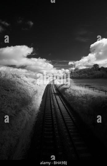 Train tracks, Dorset, England, UK - Stock Image