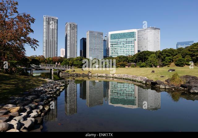 Hamarikyu Gardens, Chuo, Tokyo, Japan, Asia - Stock Image
