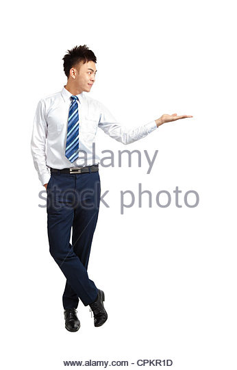 young businessman shows your product - Stock Image