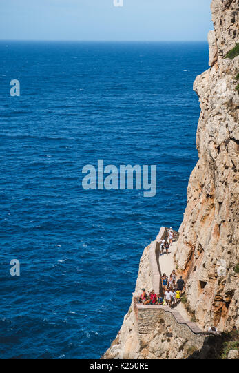 Capo Caccia, Italy. 20th Aug, 2017. The Neptune's Grotto in Capo Caccia near the Sardinian city of Alghero Photo: - Stock Image