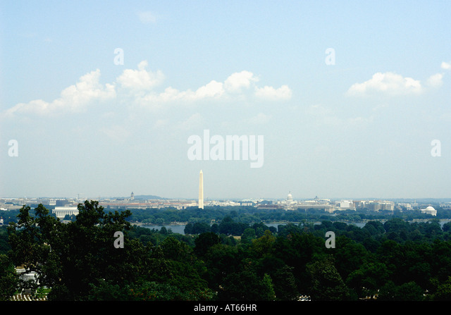 Panoramic View of The Washington DC Skyline as Viewed from Arlington National Cemetery in Washington DC USA Copy - Stock Image