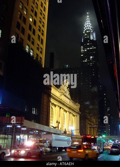 Night Scene of the Exterior of Grand Central Terminal and The Chrysler Building in New York City USA - Stock Image