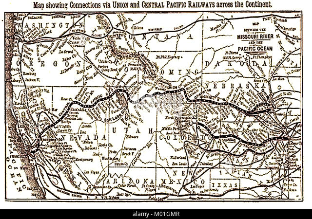 Lake Shore & Michigan Southern Railways Map USA  - Union  Central Pacific Railways connections  1875 - Stock Image