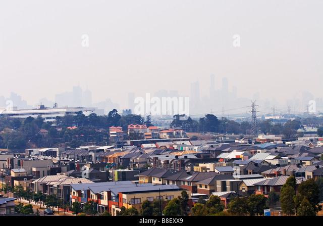 Air Pollution / Smoke haze covers the Melbourne skyline.Melbourne Victoria Australia. - Stock Image
