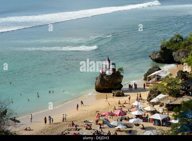 Padang Padang Beach and surfing hub, Bukit peninsula, Bali, Indonesia, Southeast Asia, Asia - Stock Image