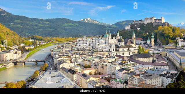 Austria - panoramic aerial view of Salzburg Old Town - Stock-Bilder