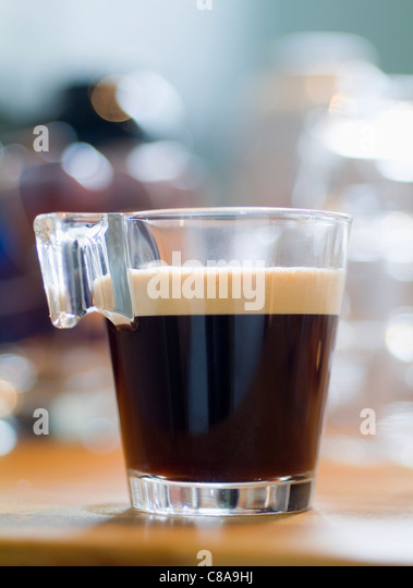 Cup of black coffee - Stock Image