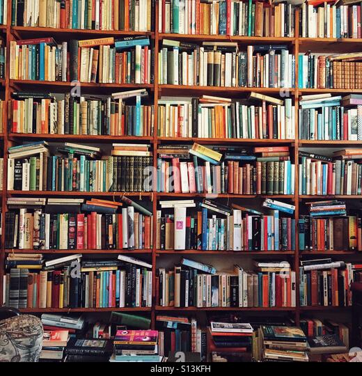 Lots of books in a second hand bookshop - Stock-Bilder