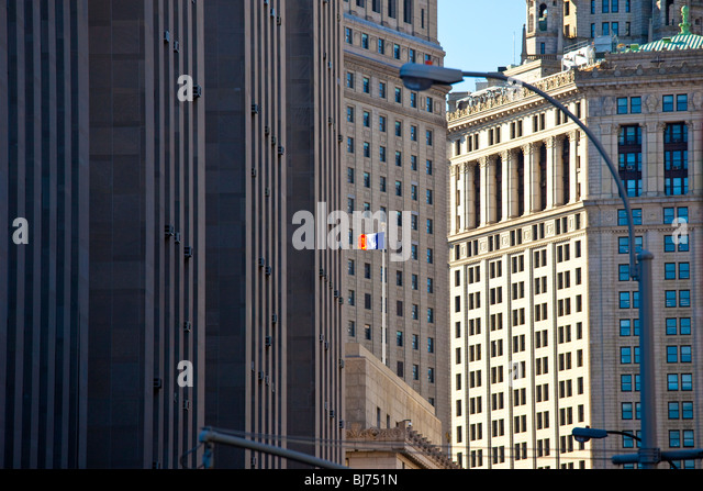 New York State Flag at City Hall, New York City - Stock Image