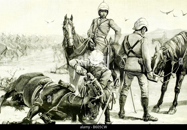 Thirsty horses of British cavalry. Sudan war (1881 - 1899). Antique illustration. 1885. - Stock Image