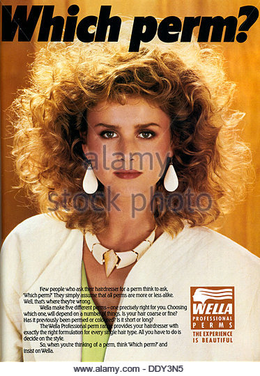 Advert for Wella Professional Perms, 1985. - Stock-Bilder