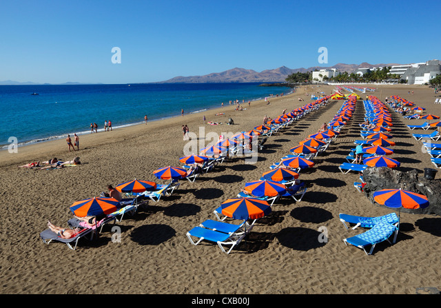 Playa Grande, Puerto del Carmen, Lanzarote, Canary Islands, Spain, Atlantic, Europe - Stock Image