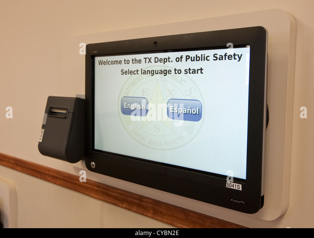feature at a drivers license center Texas. The QLess-powered kiosk allows people to 'get in line' before - Stock Image