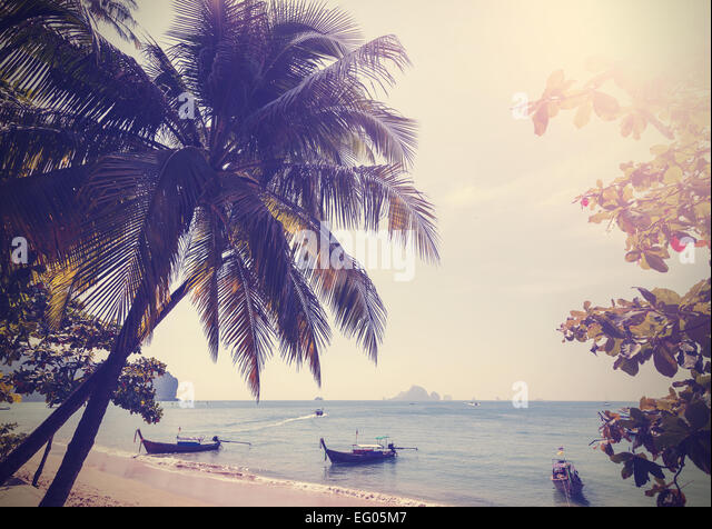 Vintage stylized photo of Andaman sea coast, Aonang in Thailand. - Stock-Bilder