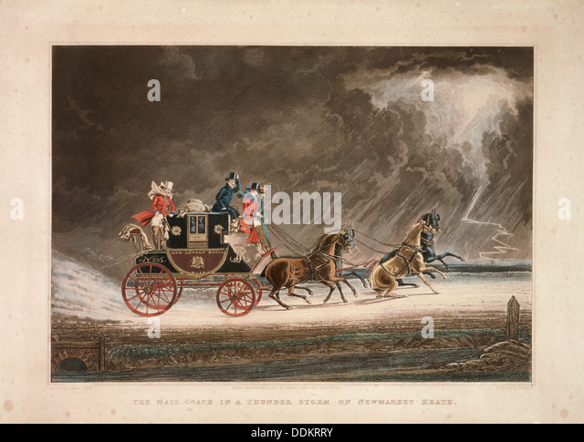 The mail coach in a thunderstorm on Newmarket Heath, Suffolk, 1827.  Artist: G Reeves - Stock Image