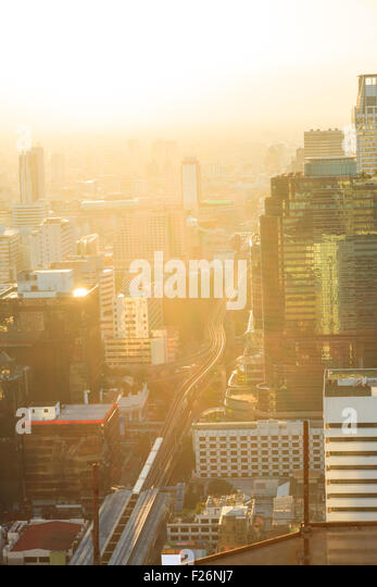 Aerial view of bangkok skylines in the evening - Stock Image