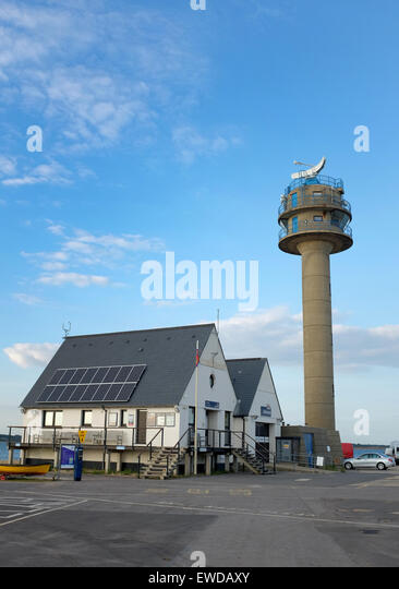 Calshot RNLI lifeboat station and Coastguard tower at Calshot Near Southampton - Stock Image
