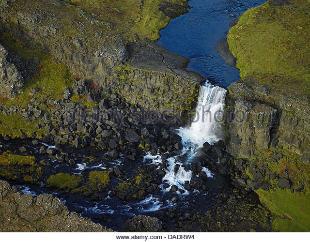 Aerial view of Oxarafoss waterfall, Thingvellir National Park, Iceland - Stock Image