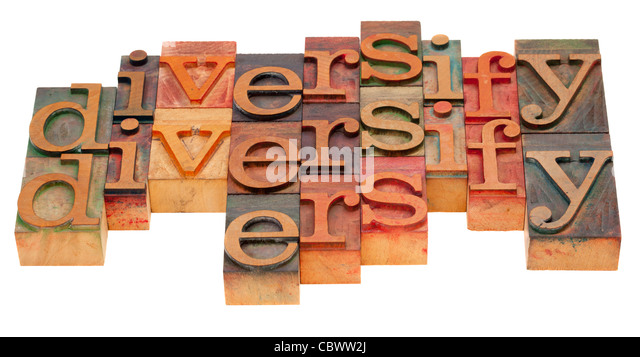 diversification concept - word abstract in vintage wooden letterpress blocks isolated on white - Stock-Bilder