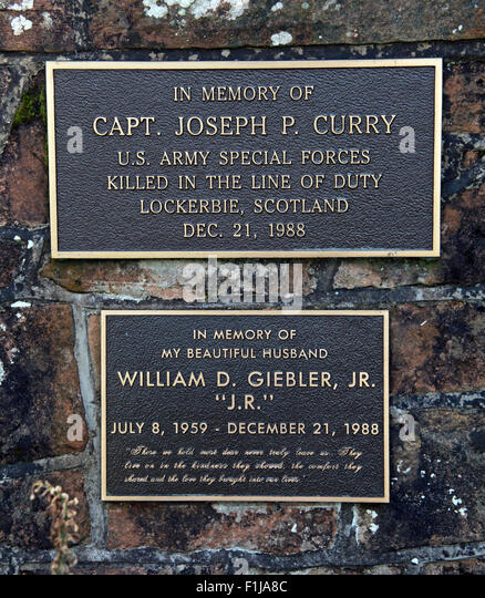 Lockerbie PanAm103 In Rememberance Memorial Capt Joseph P. Curry US Army Special Forces William D. Giebler JR - Stock Image