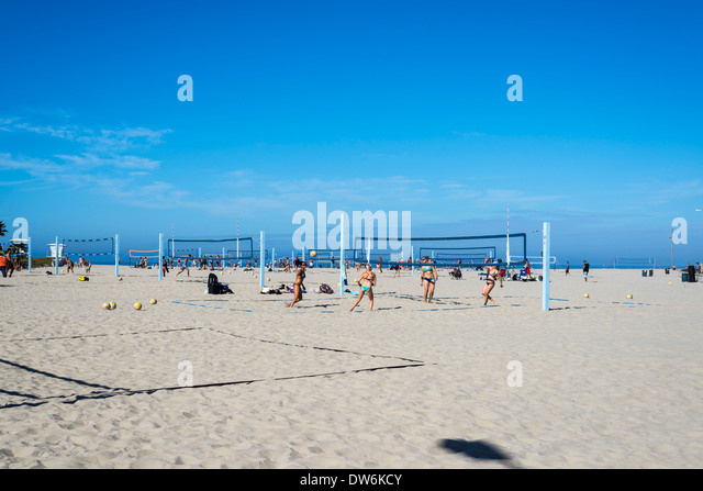 South Mission Beach volleyball courts. San Diego, California, United States. - Stock Image