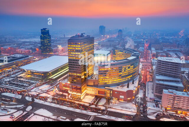Warsaw' aerial view of city center, Warsaw, Poland - Stock Image