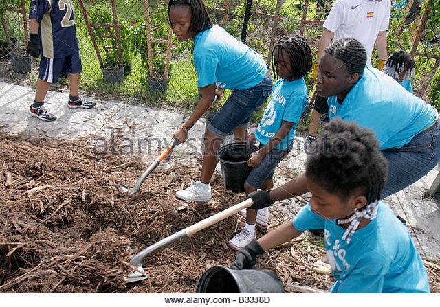 Miami Florida Little Haiti Neighborhoods in Bloom Butterfly Garden volunteer residents community service improvement - Stock Image
