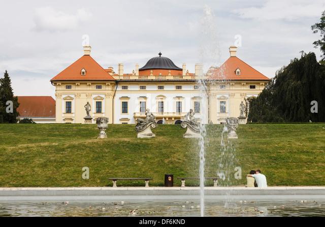 Castle and gardens at Slavkov chateau, Austerlitz, Czech Republic - Stock Image
