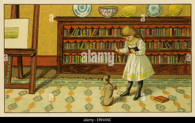 Victorian child and pet dog, an illustration by J.G. Sowerby1881. A girl teaches her puppy, how to beg. - Stock Image